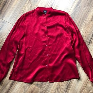 Eileen Fisher Red Silk Button Down Blouse S